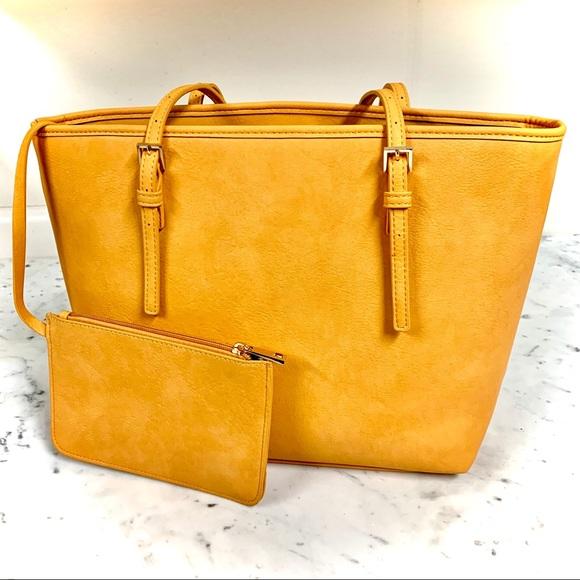 Urban Expressions Handbags - URBAN EXPRESSIONS Vegan Mustard Leather Large Tote